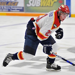 TRENTON, ON - Oct 26: Ontario Junior Hockey League game between Wellington Dukes and Trenton Golden Hawks. Erick Delaurentis #21 of the Wellington Dukes during second period game action..(Photo by Shawn Muir / OJHL Images)