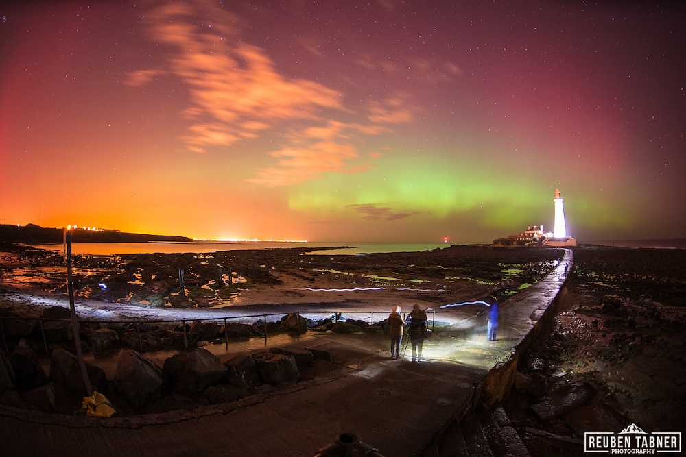 27.02.2014 Whitley Bay, Newcastle. The Aurora borealis AKA The Northern Lights, dance over St. Mary's Lighthouse in Whitley Bay just outside Newcastle, Tyne and Wear.