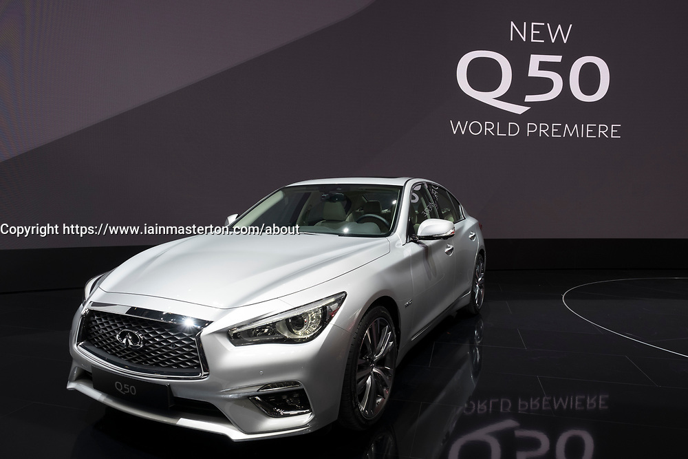 Infiniti Q50 world premiere at 87th Geneva International Motor Show in Geneva Switzerland 2017
