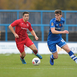 TELFORD COPYRIGHT MIKE SHERIDAN Adam Walker of Telford closes down Michael Calveley during the Vanarama National League Conference North fixture between Curzon Asthon and AFC Telford United on Saturday, November 9, 2019.<br /> <br /> Picture credit: Mike Sheridan/Ultrapress<br /> <br /> MS201920-028