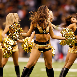 August 27, 2010; New Orleans, LA, USA; New Orleans Saints Saintsations cheerleaders perform during the first quarter of a preseason game at the Louisiana Superdome. Mandatory Credit: Derick E. Hingle-US PRESSWIRE