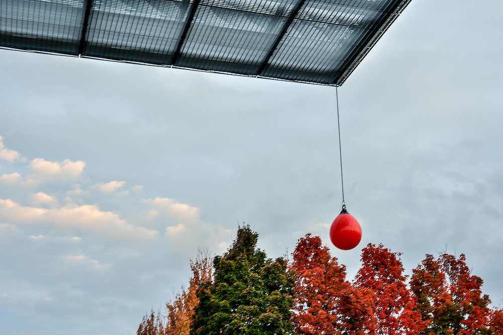 Outdoor buoy installation by Tony Feher outside of the Akron Art Museum.
