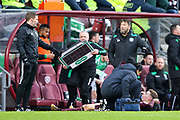Harry Cochrane (#47) of Heart of Midlothian receives treatment during the William Hill Scottish Cup 4th round match between Heart of Midlothian and Hibernian at Tynecastle Stadium, Gorgie, Scotland on 21 January 2018. Photo by Craig Doyle.