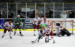 Rok Ticar of Acroni Jesenice, Jurij Golicic of Tilia Olimpija, Sabahudin Kovacevic of Acroni Jesenice, Andrei Makrov of Acroni Jesenice, Egon Muric of Tilia Olimpija, Todd Elik of Acroni Jesenice, Mitja Robar of Acroni Jesenice and Goalkeeper of Jesenice Dov Grumet-Morris at 6th Round of ice-hockey Slovenian National Championships match between HDD Tilia Olimpija and HK Acroni Jesenice, on April 2, 2010, Hala Tivoli, Ljubljana, Slovenia.  Acroni Jesenice won 3:2 after overtime and became Slovenian National Champion 2010. (Photo by Vid Ponikvar / Sportida)