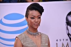 Sonequa Martin-Green at The 49th NAACP Image Awards held at the Pasadena Civic Auditorium on January 15, 2018 in Pasadena, CA, USA (Photo by Sthanlee B. Mirador/Sipa USA)