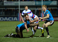 Matty Ashurst of Wakefield Trinity is tackled during the Betfred Super League match at Belle Vue, Wakefield<br /> Picture by Richard Land/Focus Images Ltd +44 7713 507003<br /> 09/02/2018
