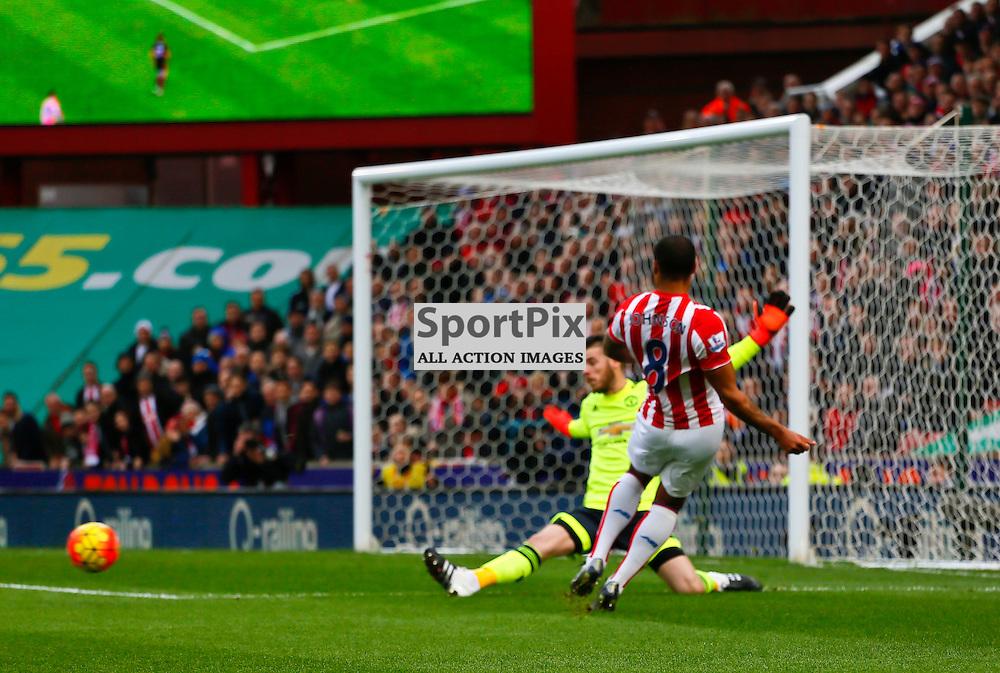 Glen Johnson pulls back to set up Bojans goal during Stoke City v Manchester United, Barclays Premier League, Saturday 26th December 2015, Britannia Stadium, Stoke