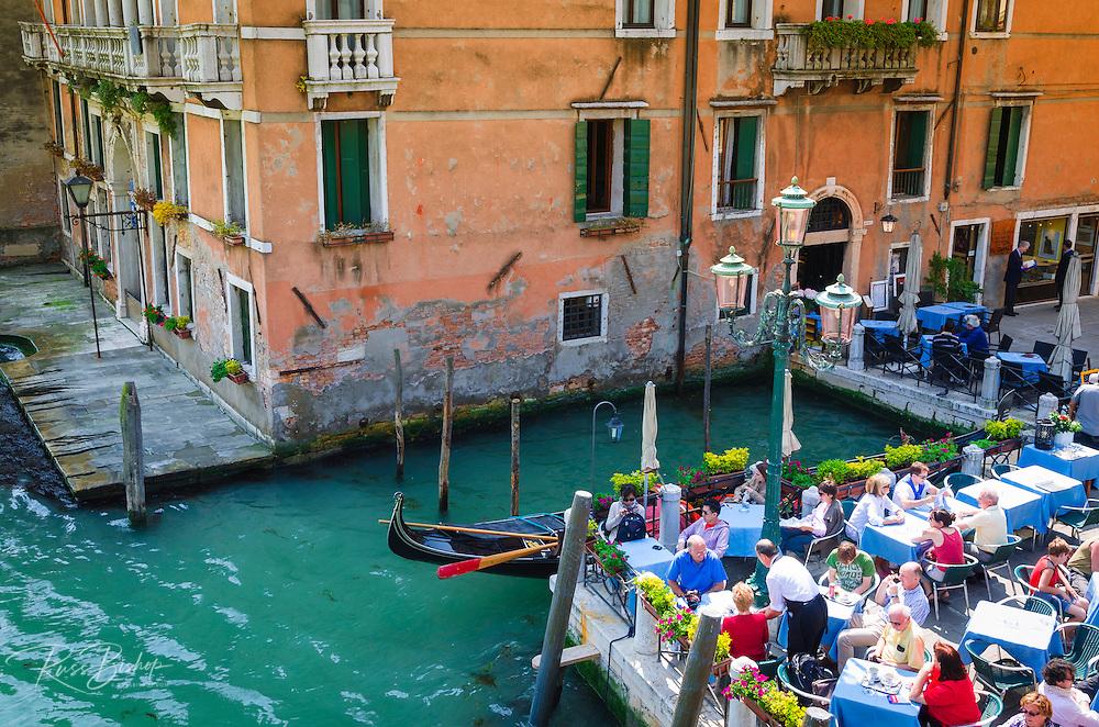 Patio dining on the Grand Canal, Venice, Veneto, Italy