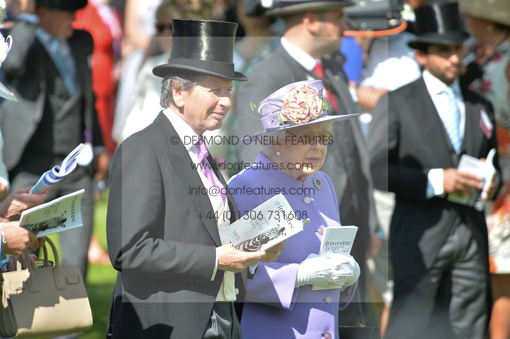 HM The Queen and John Warren at The Investec Derby, Epsom Racecourse, Epsom, Surrey, England. 02 June 2018.