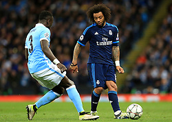 Marcelo of Real Madrid and Bacary Sagna of Manchester City  - Mandatory by-line: Matt McNulty/JMP - 26/04/2016 - FOOTBALL - Etihad Stadium - Manchester, England - Manchester City v Real Madrid - UEFA Champions League Semi Final First Leg