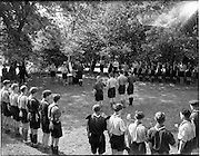 01/07/1962<br /> 07/01/1962<br /> 01 July 1962<br /> Investiture into the 1st Larch Hill Scout Troop. A general view of the scene at Larch Hill, Co. Dublin as Rev. J.F. Callery, Dublin Director of Training, officiates at investiture of 13 scouts into the 1st Larch Hill Troop of the C.B.S.I.