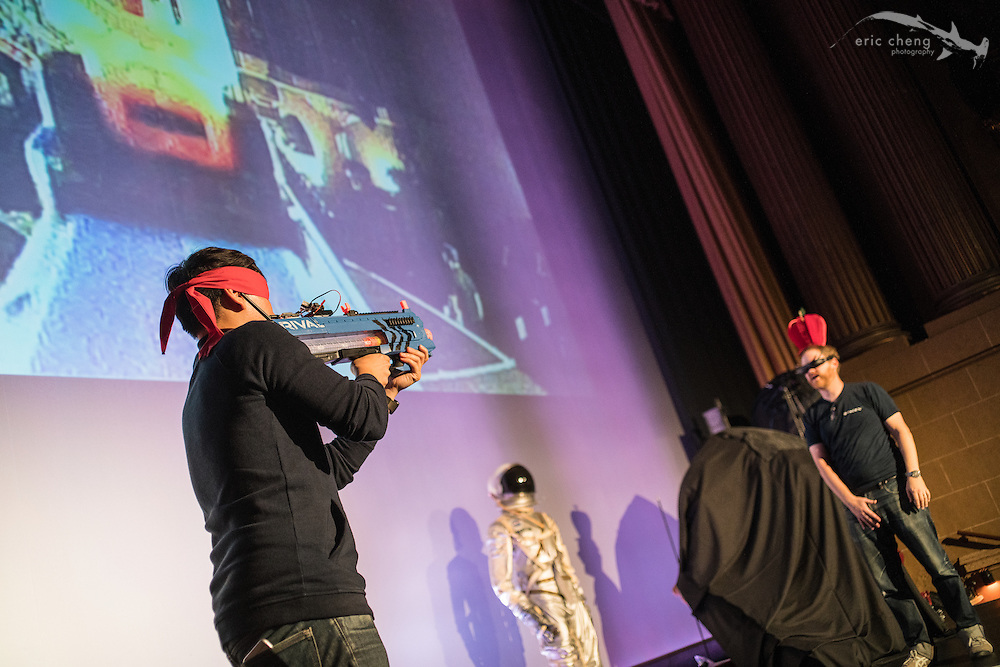 Norman Chan and Will Smith test the William Tell 2 segment. Tested.com live show, Oct 23, 2015, Castro Theater, San Francisco.