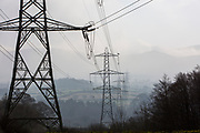 Electrical Pylons on the outskirts of Bethesda that run through the valleys in Gwynedd, Wales.  (photo by Andrew Aitchison / In pictures via Getty Images)