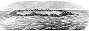 Coral reef creating a lagoon. From Charles Darwin 'The Structure and Distribution of Coral Reefs', London, 1842. The realisation of  the long time scale entailed in the creation of islands and reefs contributed to Darwin's theory of evolution. Woodcut.