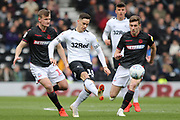 Derby County forward Tom Lawrence strikes the ball forward during the EFL Sky Bet Championship match between Derby County and Bolton Wanderers at the Pride Park, Derby, England on 13 April 2019.