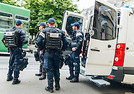Local police near to Liverpool fans in party mood in Basel city centre ahead of the UEFA Europa League Final against Sevilla.<br /> Picture by EXPA Pictures/Focus Images Ltd 07814482222<br /> 18/05/2016<br /> ***UK &amp; IRELAND ONLY***<br /> EXPA-FEI-160518-0001.JPG