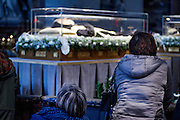 Vatican City feb 6th 2015, exposition of St Pio (Padre Pio) and St Leopoldo Mandic relics in St Peter's Basilica. In the picture the relics visited by pilgrims and faithfuls