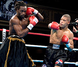 February 16, 2006 - New York, NY - Junior middleweights Giovianni Lorenzo and Chris Henry trade punches during their 10 round bout at the Manhattan Center in NYC.  Lorenzo won via 3rd round TKO.