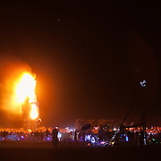 Clan - The Interpreter bunny robot being burned at AfrikaBurn 2014, Tankwa Karoo desert, South Africa