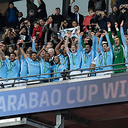 Manchester City players celebrate winning the Carabao Cup