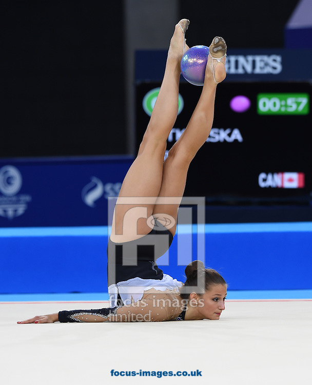 Maria Kitkarska CAN during her performance in the Rhythmic Gymnastics ball final at SSE Hydro, Glasgow<br /> Picture by Alan Stanford/Focus Images Ltd +44 7915 056117<br /> 26/07/2014