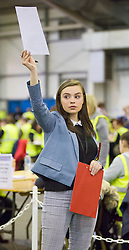 Scottish Parliament Election 2016 Royal Highland Centre Ingliston Edinburgh 05 May 2016; a Labour activist keeps an eye on the postal votes during the Scottish Parliament Election 2016, Royal Highland Centre, Ingliston Edinburgh.<br /> <br /> (c) Chris McCluskie | Edinburgh Elite media