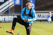 Forest Green Rovers Kaiyne Woolery(14) warming up during the FA Trophy match between Macclesfield Town and Forest Green Rovers at Moss Rose, Macclesfield, United Kingdom on 4 February 2017. Photo by Shane Healey.