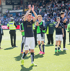 Falkirk's Luke Leahy. Players and fans at the end of the game. Kilmarnock 4 v 0 Falkirk, second leg of the Scottish Premiership play-off final.