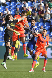 May 20, 2017 - Raúl Lizoain stops the ball after a shoot by Ola John.  LA CORUNA SPAIN. MAY 20, 2017 - La Liga Santander match day 38 game. Deportivo La Coruna defeated Las Palmas with goals scored by Florin And one (4th and 28th minute) and Carles Gil (39th minute). Riazor Stadium, Spain. Photo by Monica Arcay Carro | PHOTO MEDIA EXPRESS (Credit Image: © Monica Arcay Carro/VW Pics via ZUMA Wire/ZUMAPRESS.com)