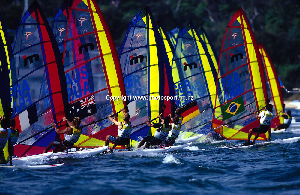 John Paul Tobin in action during the windsurfing trials for the 2000 Olympics. Photo: PHOTOPSORT *** Local Caption ***