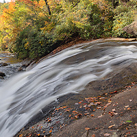The splendor of fall colors on Turtleback Falls, near Cashiers, North Carolina