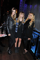 Left to right, AMBER LE BON, BECKY TONG and ZARA MARTIN at the ZEO 'Just January' Party held at the Buddha Bar, 145 Knightsbridge, London SW1 on 31st January 2013.