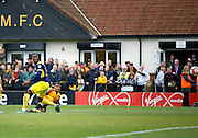 Merstham Forward Dan Hector has a shot on goal during the FA Cup match between Merstham and Oxford United at Moatside, Merstham, United Kingdom on 5 November 2016. Photo by Andy Walter.