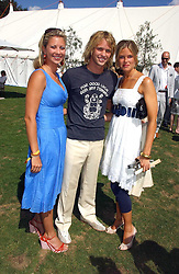 Left to right, HOLLY BRANSON, SAM BRANSON and ISABELLA ANSTRUTHER-GOUGH-CALTHORPE at the Cartier International polo at Guards Polo Club, Windsor Great Park, on 30th July 2006.<br />