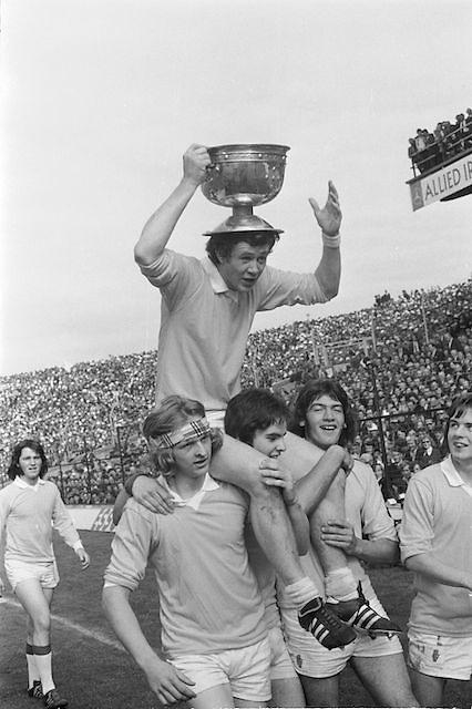 All Ireland Minor Football Final in Croke Park, Tyrone v Kildare..Commissioned by Kerryman (john Barrett)..23.09.1973  23rd September 1973. Featuring Dessie McKenna, Martin Lennon, Hugh Mooney and Patsy Kerlin.
