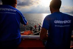 ITALY GIARDINI NAXOS 7MAY08 - Sicilian fishing boat crew appears next to the Greenpeace ship Arctic Sunrise demanding the return of their nets. Greenpeace pursued the illegal driftnet fishing boat Diomede II to their home port of Giardini Naxos  in Sicily in the Mediterranean Sea...jre/Photo by Jiri Rezac / Greenpeace..© Jiri Rezac 2008..Contact: +44 (0) 7050 110 417.Mobile:  +44 (0) 7801 337 683.Office:  +44 (0) 20 8968 9635..Email:   jiri@jirirezac.com.Web:    www.jirirezac.com..© All images Jiri Rezac 2008 - All rights reserved.