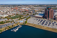 Drone aerial image of Canton Crossing and Baltimore city by Jeffrey Sauers of CPI Productions