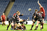 Nathan Fowles kicks clear during the Guinness Pro 14 2017_18 match between Edinburgh Rugby and Munster Rugby at Myreside Stadium, Edinburgh, Scotland on 16 March 2018. Picture by Kevin Murray.