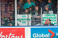 KELOWNA, CANADA - FEBRUARY 15: Everett Silvertips' fans sit behind Sahvan Khaira #86 of the Everett Silvertips during a penalty against the Kelowna Rockets  on February 15, 2019 at Prospera Place in Kelowna, British Columbia, Canada.  (Photo by Marissa Baecker/Shoot the Breeze)