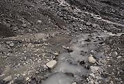 Woman, Man, Hiking, Walking, Glacier Moraine, Moraine, Glacier, Ice, Pond, River, Stream, Creek, Seward, Alaska
