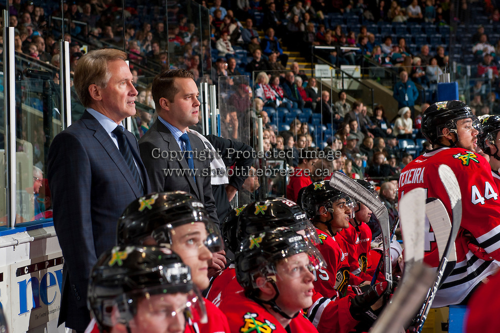 KELOWNA, CANADA - JANUARY 28: Mike Johnston, head coach and Kyle Gustafson, associate coach of the Portland Winterhawks stand on the bench against the Kelowna Rockets on January 28, 2017 at Prospera Place in Kelowna, British Columbia, Canada.  (Photo by Marissa Baecker/Shoot the Breeze)  *** Local Caption ***