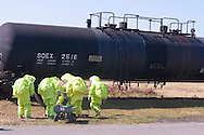 New Hampton, New York - The Orange County Hazardous Materials (HAZMAT) Response Team works during a drill where they practiced responding to a tanker railcar leaking chlorine gas at the Orange County Fire Training Center in New Hampton, New York, on Aug. 9, 2014.