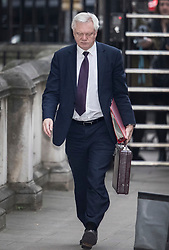 © Licensed to London News Pictures. 06/12/2017. London, UK. Brexit Secretary David Davis arrives in Downing Street. Later he will appear before the House of Commons Brexit Committee. Photo credit: Peter Macdiarmid/LNP