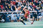 Shaun McWilliams of Northampton Town challenged by Connor Wood of Bradford City during the EFL Sky Bet League 2 match between Bradford City and Northampton Town at the Utilita Energy Stadium, Bradford, England on 7 September 2019.