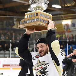 TRENTON, ON - Apr 22, 2016 -  Ontario Junior Hockey League game action between the against the Trenton Golden Hawks and the Georgetown Raiders. Game 5 of the Buckland Cup Championship Series, at the Duncan Memorial Gardens in Trenton, Ontario. Blayne Oliver #16 of the Trenton Golden Hawks with the Buckland Cup.<br /> (Photo by Andy Corneau / OJHL Images)