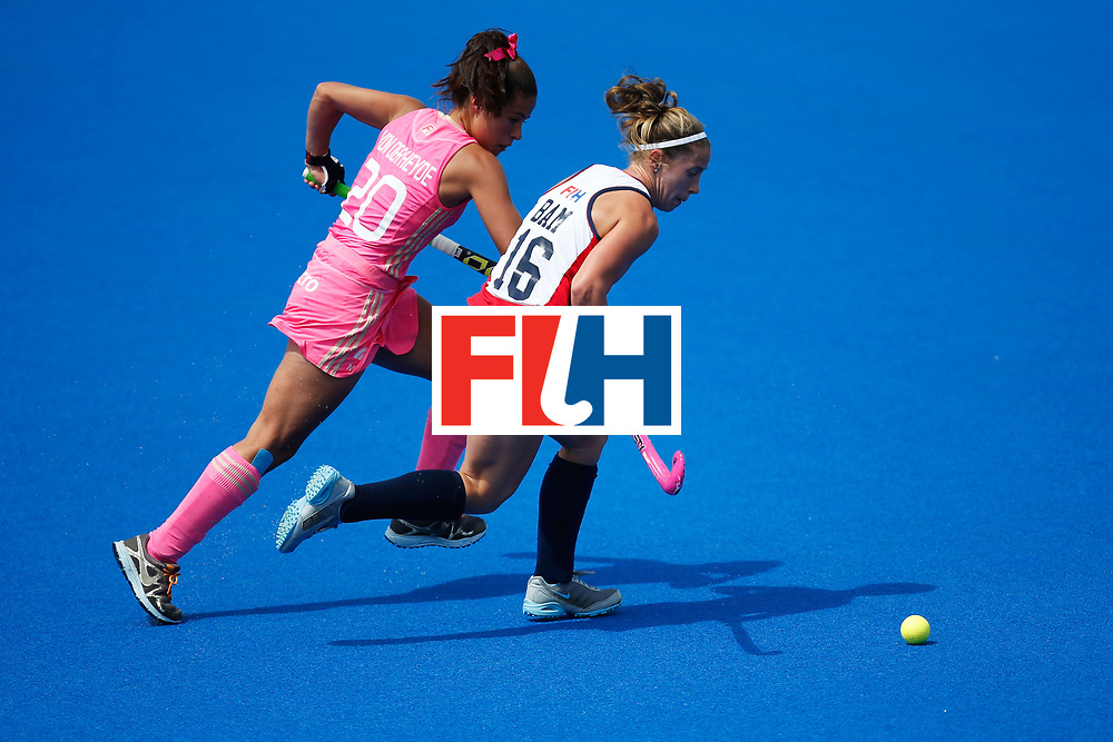 LONDON, ENGLAND - JUNE 19:  Katie Bam of the USA and Lucina vonder Heyde of Argentina fight for the ball during the FIH Women's Hockey Champions Trophy 2016 match between the United States  and Argentina at Queen Elizabeth Olympic Park on June 19, 2016 in London, England.  (Photo by Joel Ford/Getty Images)