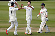 Matt Taylor celebrates catching Alex Davies lbw during the LV County Championship Div 2 match between Gloucestershire County Cricket Club and Lancashire County Cricket Club at the Bristol County Ground, Bristol, United Kingdom on 7 June 2015. Photo by Alan Franklin.