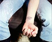Neville's skinhead tattoo, High Wycombe, UK, 1980s