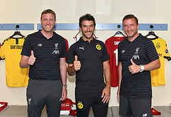 HONG KONG, CHINA - Thursday, June 6, 2019: Liverpool FC Legends' Stephane Henchoz (L) and Vladimir Smicer (R) with Borussia Dortmund Legends' Karl-Heinz Riedle (C) during a press conference at the Hong Kong Stadium ahead of an exhibition match between Liverpool FC and Borussia Dortmund. (Pic by Jayne Russell/Propaganda)