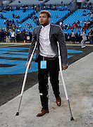 CHARLOTTE, NC - JAN 24:  Tyrann Mathieu #32 of Arizona Cardinals walks on crutches before the NFC Championship game against the Carolina Panthers at Bank of America Stadium on January 24, 2016 in Charlotte, North Carolina.